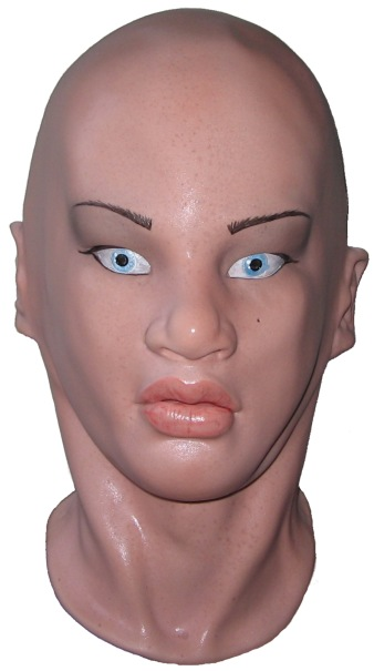 Realistic Womans Face Mask for Crossdressing :  latex mask fancy dress rubber hood crossdresser disguise tranny realistic mask womans face mask