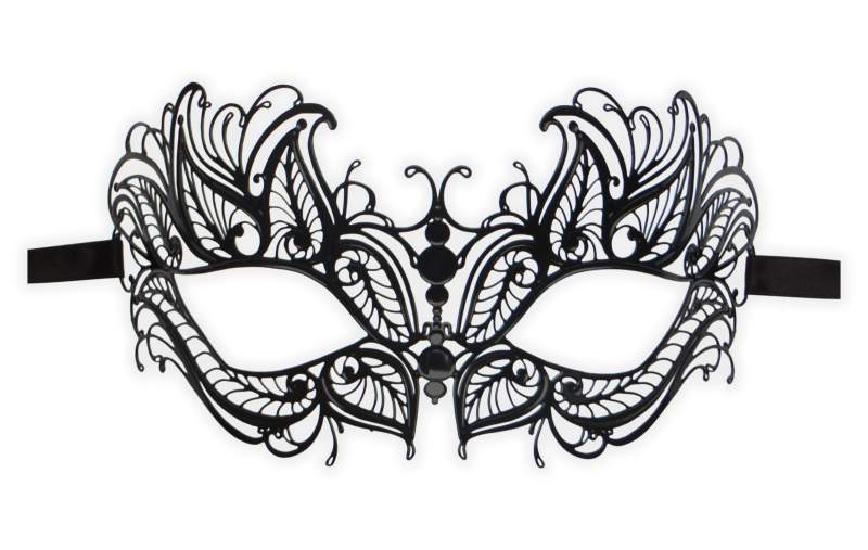 Black Venetian Mask Filigree Metal 'Fayetta'