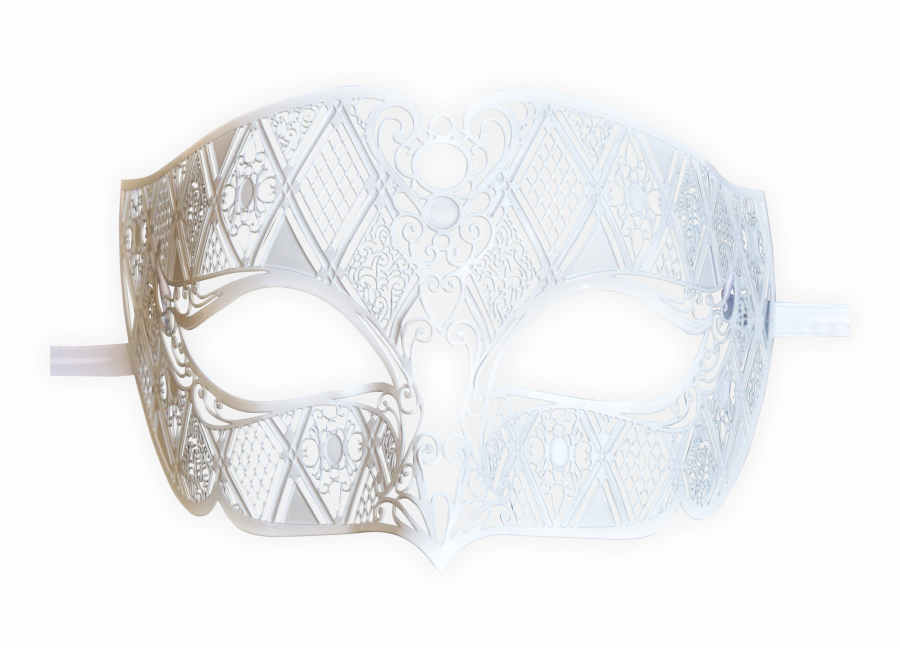 Mens Mask White Filigree Metal