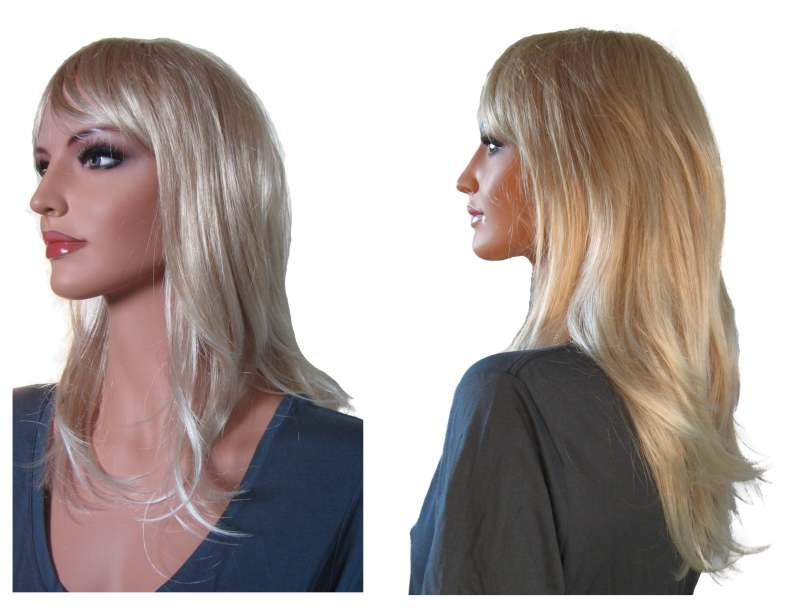 Womans Wig Lite Swedish Blonde with Cinnamon Blonde Strands
