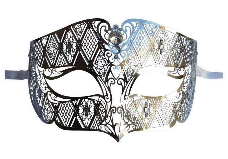 Antifaz Veneciano para Hombre en Metal Plata : Mask-Shop.com