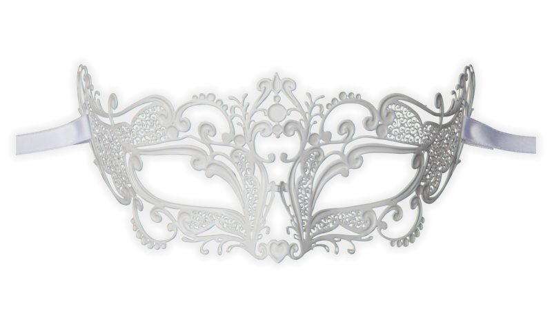 White Metal Venetian Mask 'Princess'