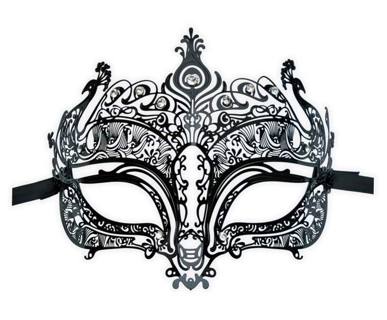 Black Venetian Mask Metal Burlesque Peacock Theme