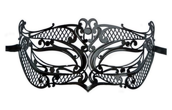 Black Metal Masquerade Mask 'Mistress' - Click Image to Close
