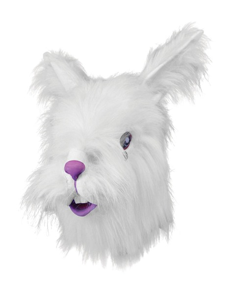 Mask White Rabbit with Fake Fur