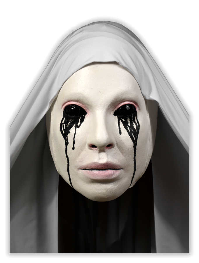 White Nun Black Tears Horror Mask - Click Image to Close