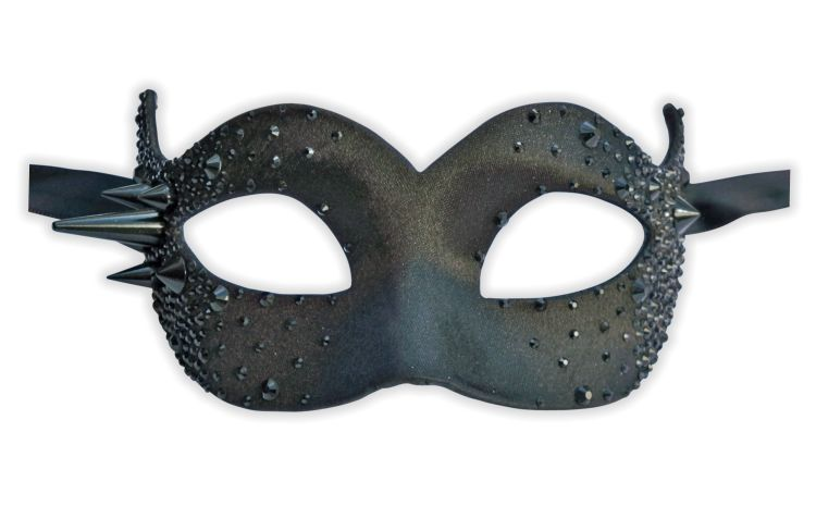 Luxury Masquerade Mask Black with Diamante Crystals - Click Image to Close