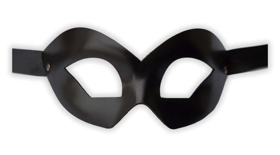 Black Venetian Mask Leather Handcrafted 'Domino'