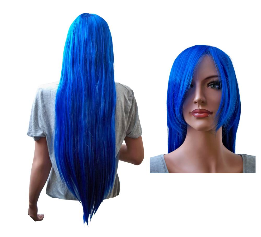 Long Blue Cosplay Wig Straight