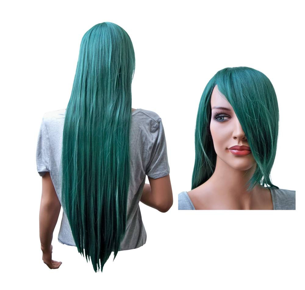 Cosplay Wig Dark Green Long Straight