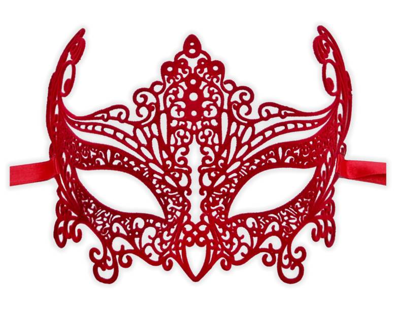 Red Mask Filigree Metal coated with Velvet