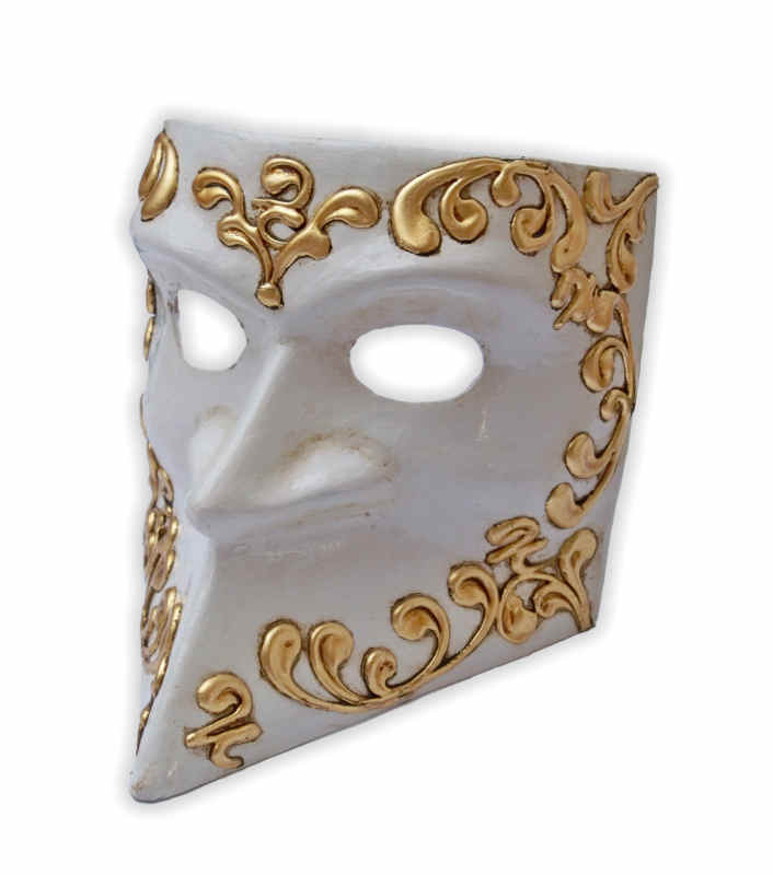 Venetian Bauta Mask White with Golden Stucco