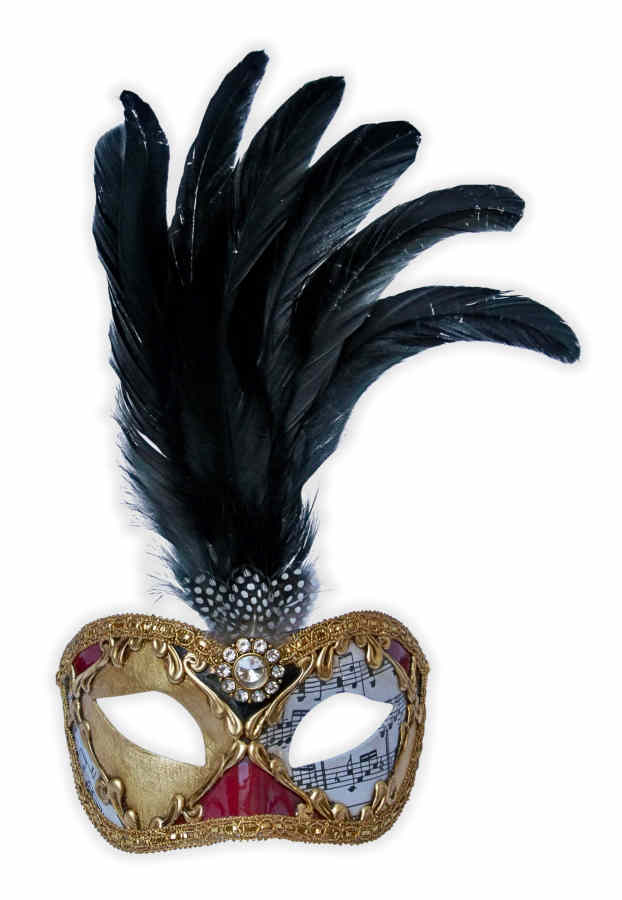 Venetian Feather Mask Colombina Gold Musical Notes