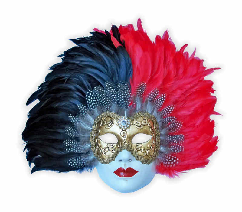 Venetian Volto Mask Gold Stucco with Feathers Black Red