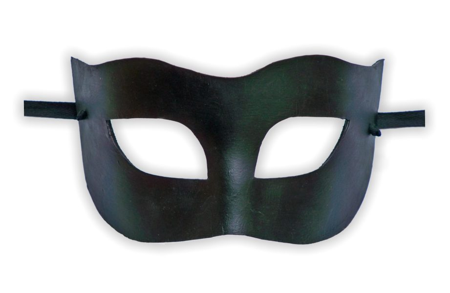 Venetian Leather Mask Black