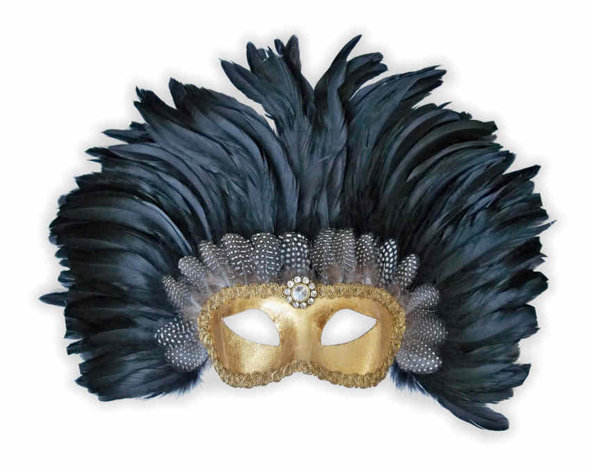 Venetian Colombina Mask Gold with Black Feathers