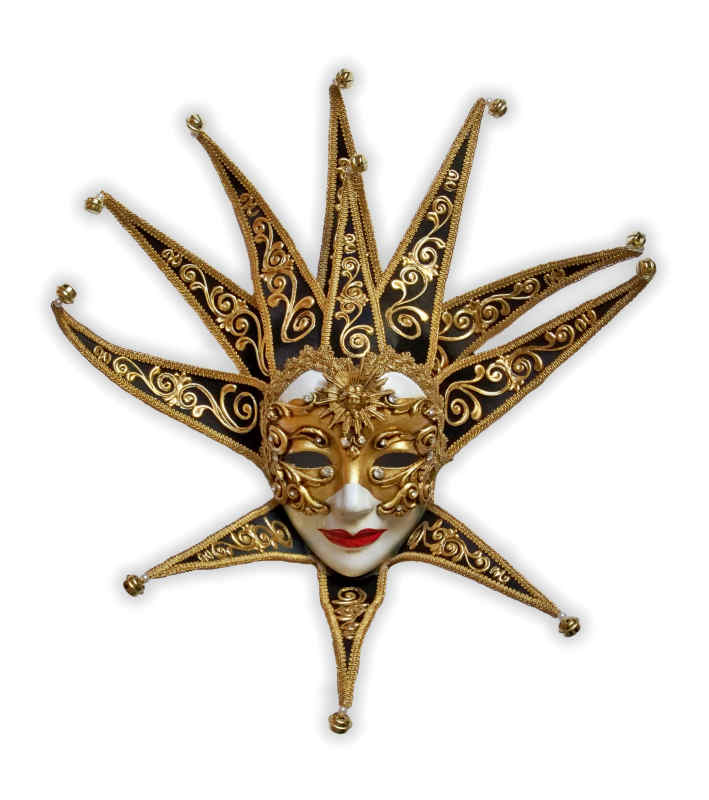 Venetian Mask Wall Decor Jolly Lady Barock Golden