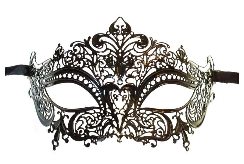 Ladies Metal Lace Mask Black 'Nelya'