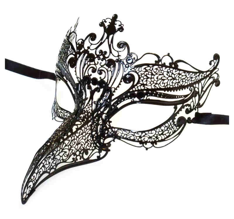 Venetian Beak Nose Mask Black Metal