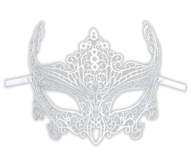 White Wedding Mask Filigree Metal